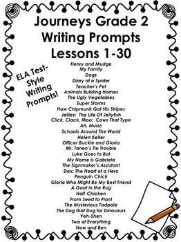 Journeys Grade 2-Writing Prompts Bundle-Lessons 1-30 in