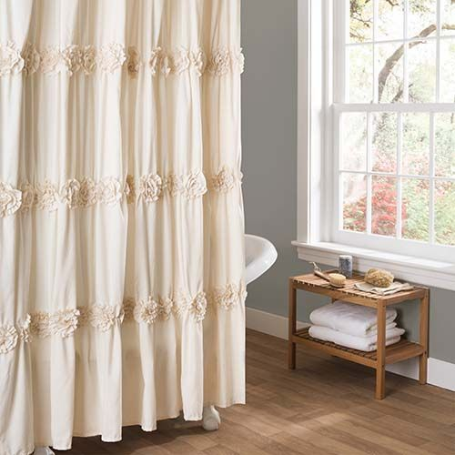Darla Ivory Shower Curtain Shabby Chic Shower Curtain Shabby