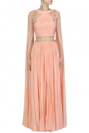 0002181d614b2 Peach Floral Work Cape Sleeves Crop Top and Skirt Set By Pooja Peshoria