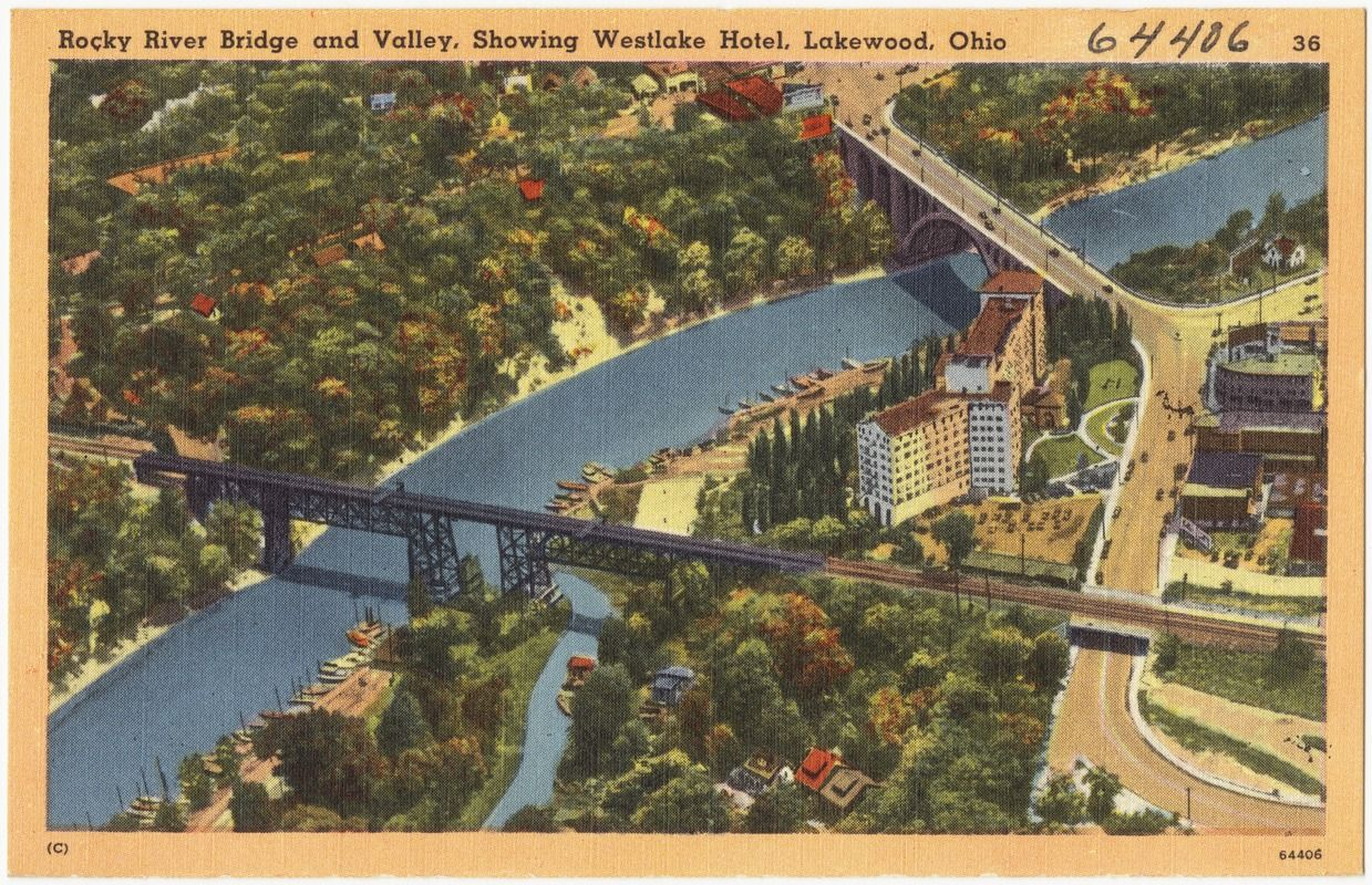 Rocky River Bridge And Valley Showing Westlake Hotel Lakewood Ohio