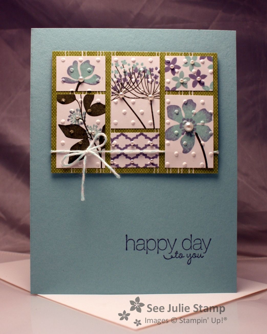 SU! Summer Silhouettes and Friendly Phrases stamp sets; colors are Whisper White, Wisteria Wonder, Pool Party, Always Artichoke and Lucky Limeade - Julie Wadlinger