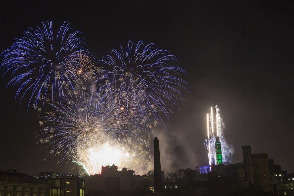 Firework of top of Calton Hill   Edinburgh Hogmanay