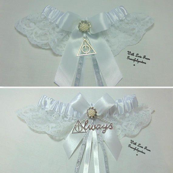 Wedding Garter Symbolism: Handmade Wizard/Map/Magic House Inspired Always Lace