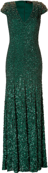 Jenny Packham Green Silk Sequined Gown in Matador