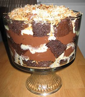German Chocolate Cake Trifle with recipe for my hubby Trifles
