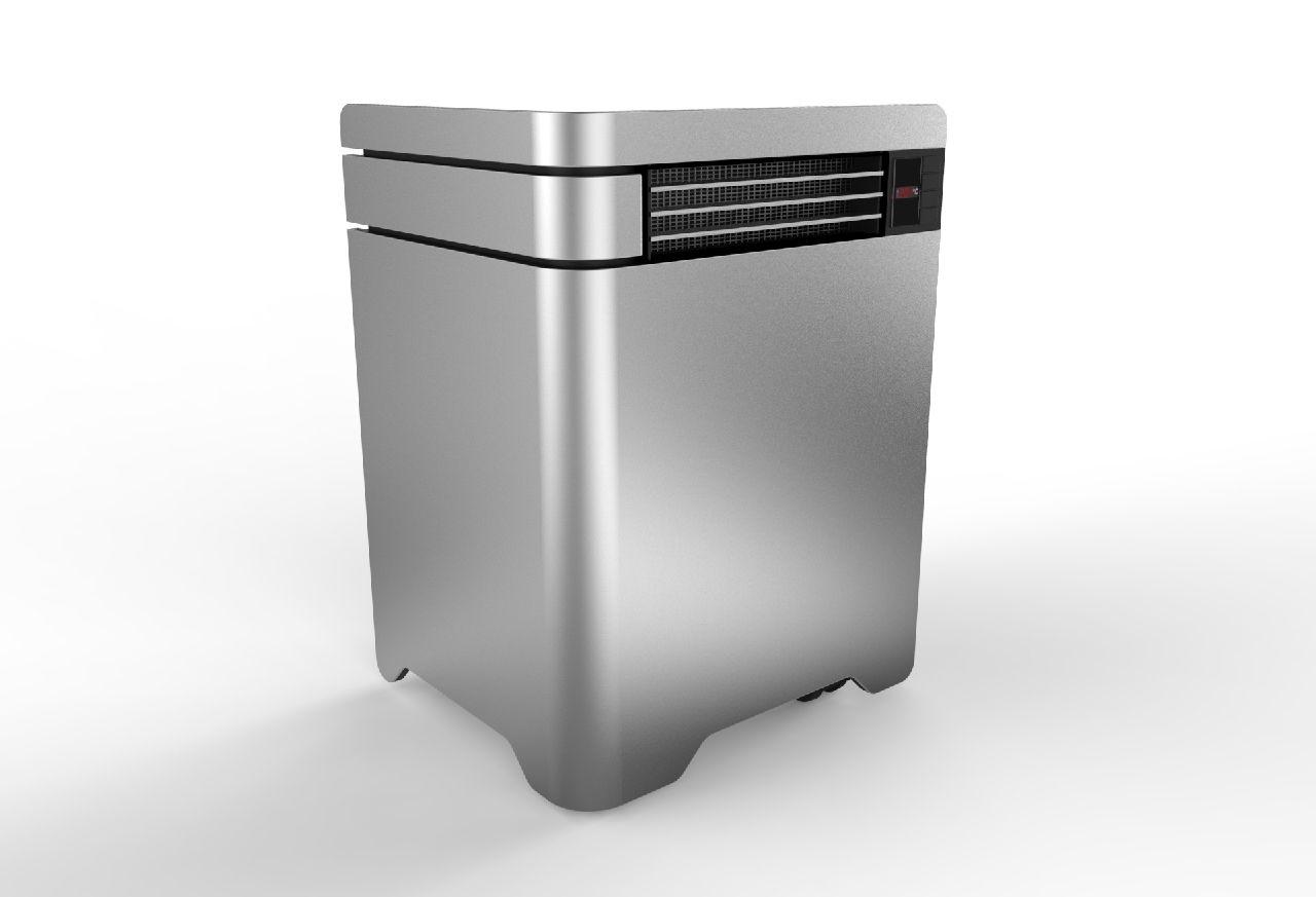 electric heater concept scaldino elettrico rendering keyshot 3D rhinoceros luxion high quality matte silver metal aluminum  finish