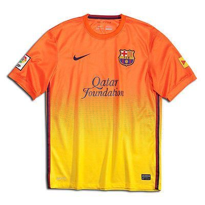81deb2aa6 NIKE FC BARCELONA AWAY JERSEY 2012 13. This is Barca s new bold jersey for  the 12 13 season. Bright orange and yellow with a blended pattern.