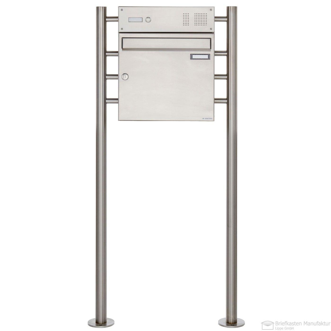 edelstahl design standbriefkasten basic 381 va mit klingel gegensprechstelle wahlweise mit. Black Bedroom Furniture Sets. Home Design Ideas