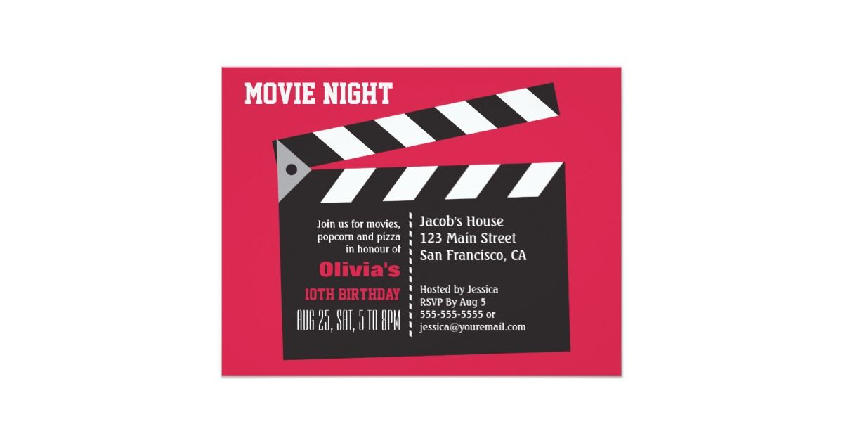 director board movie night birthday party invitation movie