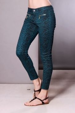 Teal Leopard Print Stretch Fit Zipper Pocket Pants