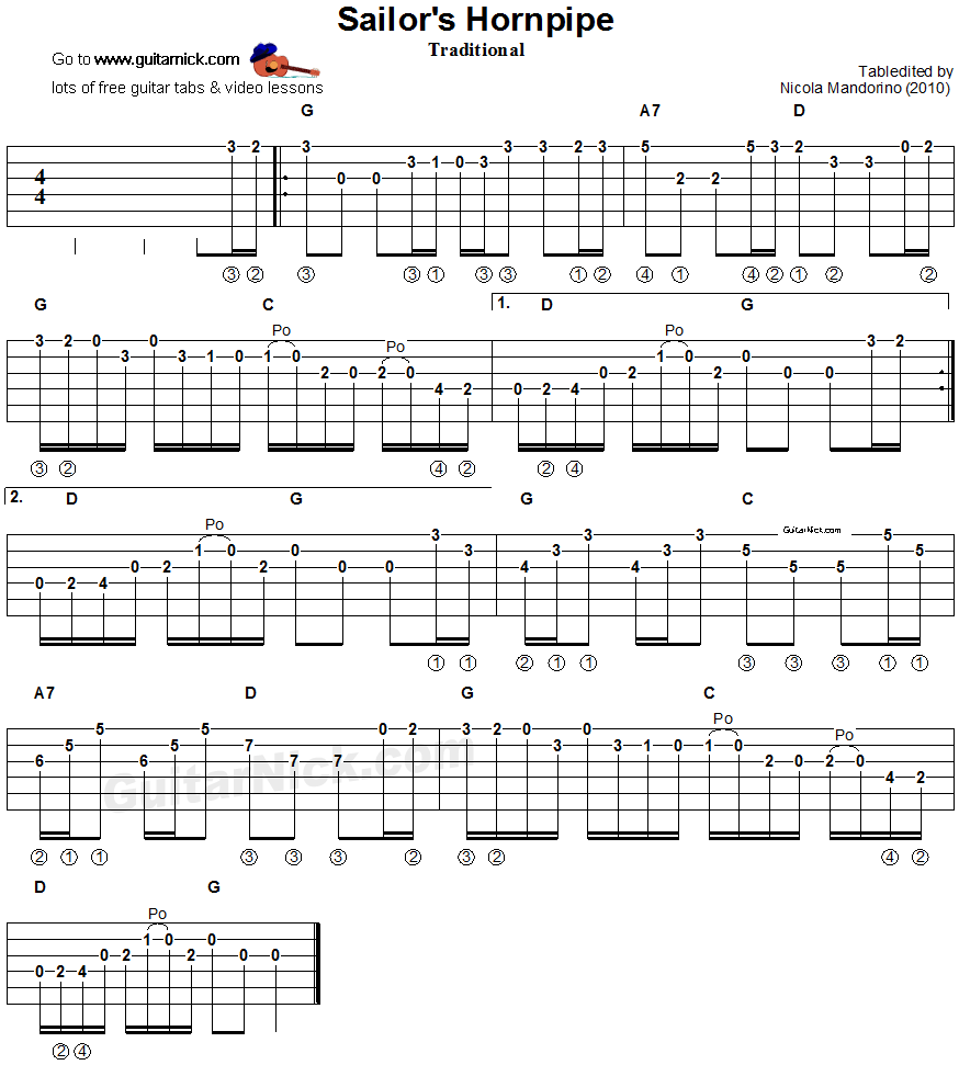 Guitar Chord Tabs: Sailor's Hornpipe - Guitar Tablature