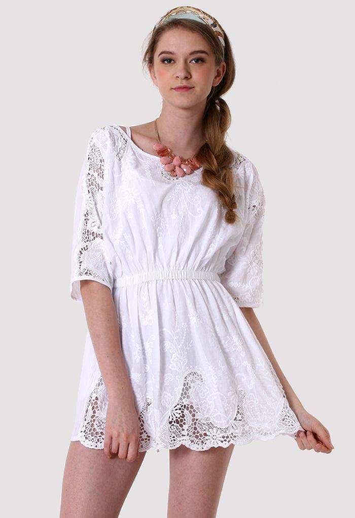 Crochet Cut Out Dolman Sleeve Dress - Dress - Retro, Indie and Unique Fashion