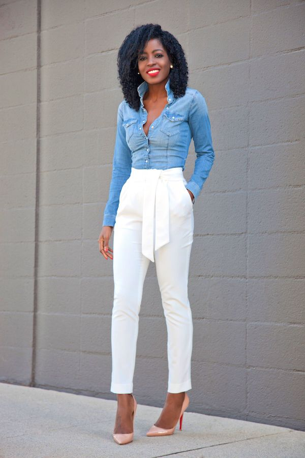 55ecfc06893 Fitted Denim Shirt + Tie Front Tapered Pants Style Pantry waysify ...