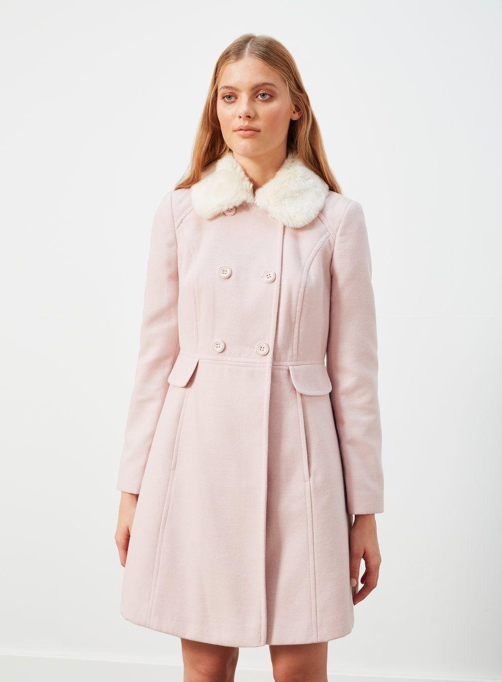 9239574e856b6 Faux Fur Collar Button Coat - Miss Selfridge