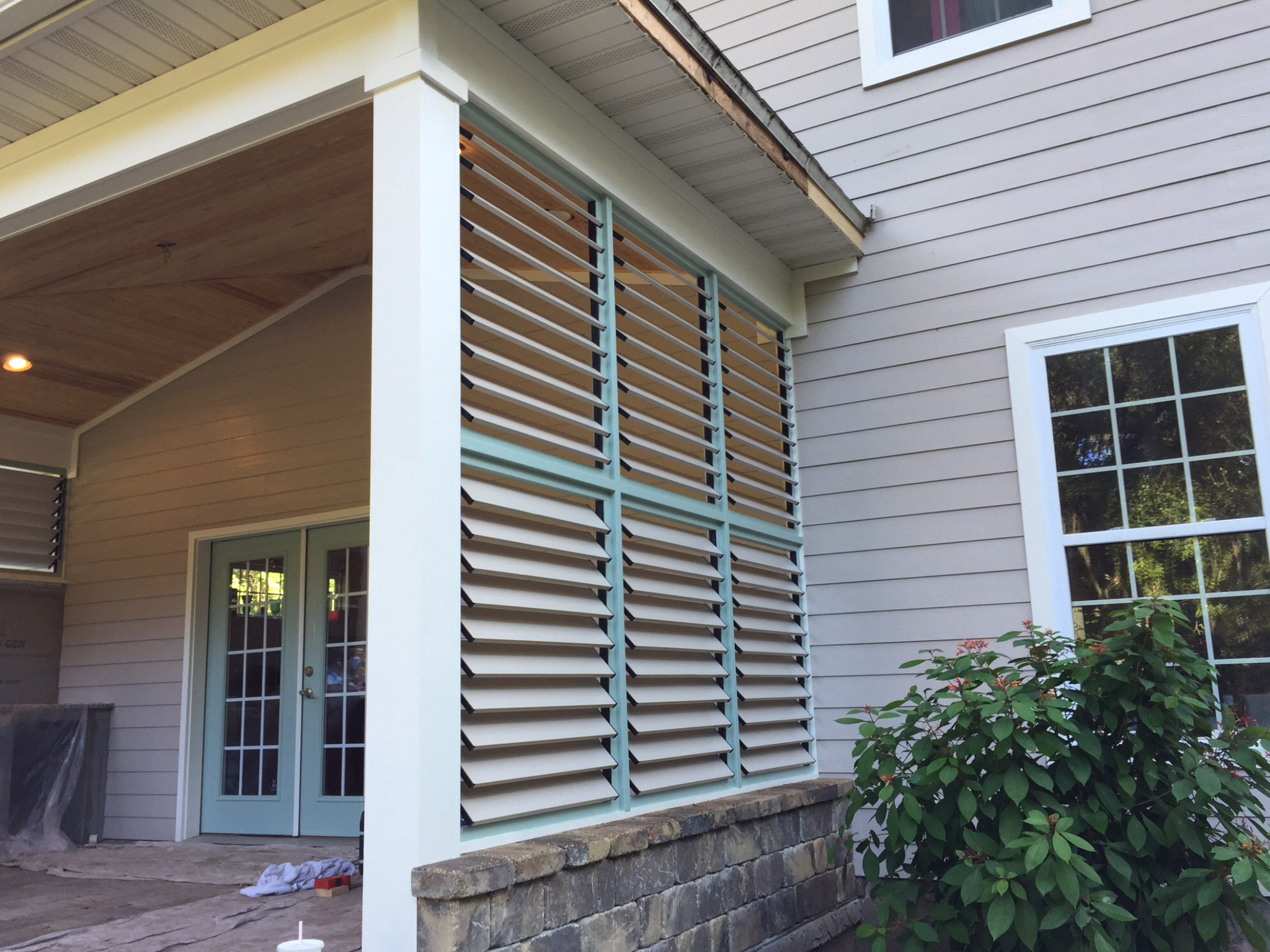 Diy Bbq Area With Painted Louvered Privacy Walls Client