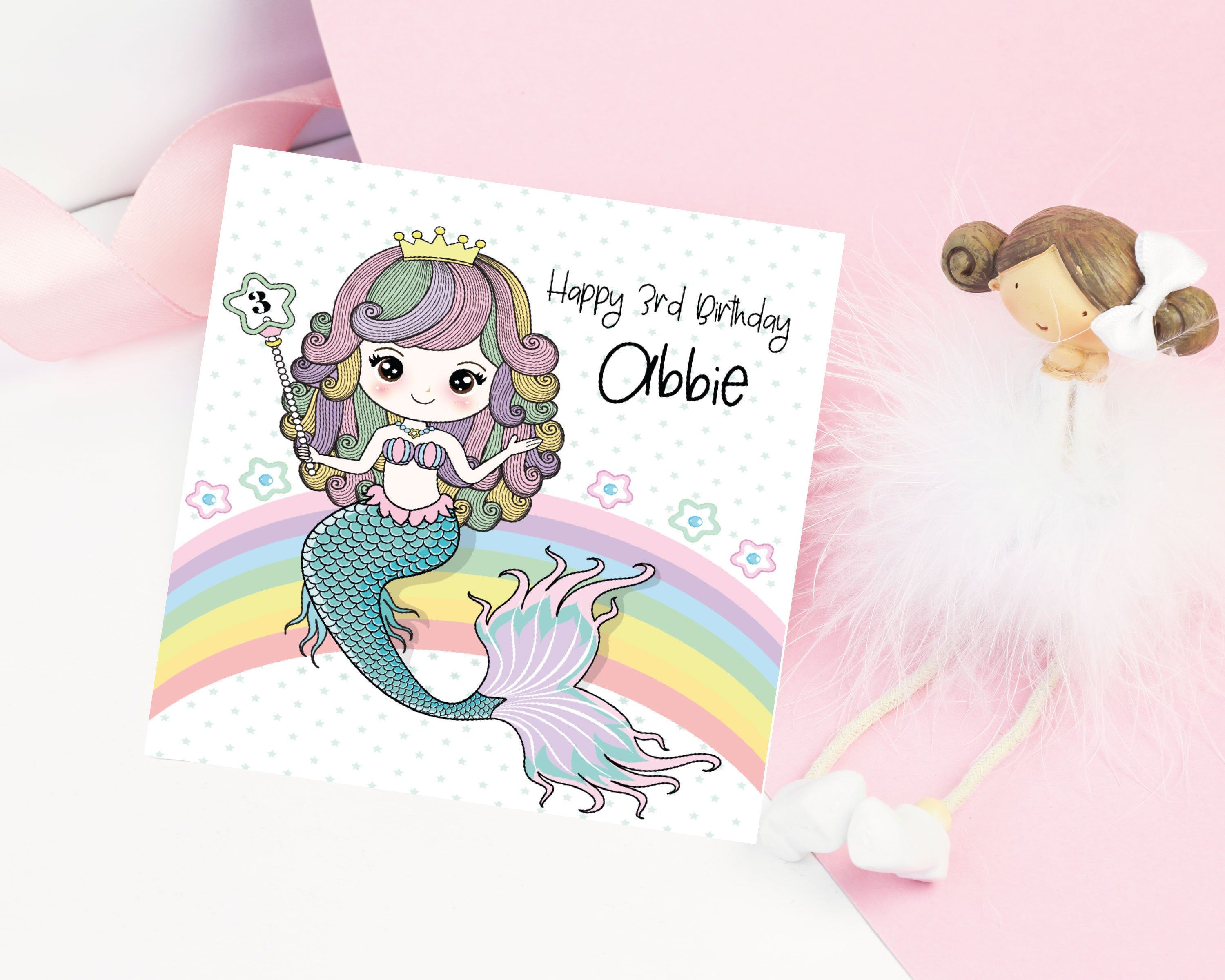 Birthday Card With Mermaid Personalised With Age And Name Etsy First Birthday Cards Birthday Card With Name Personalized Birthday Cards