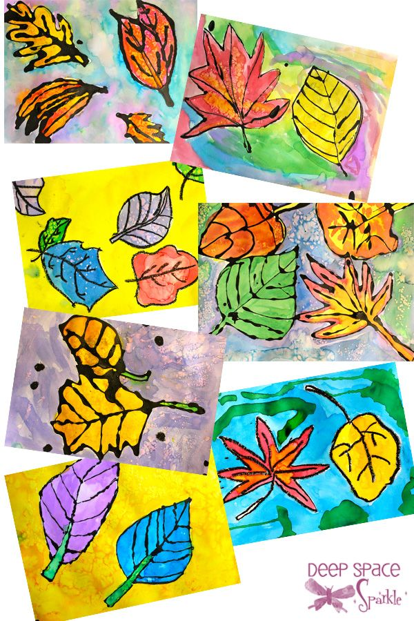 Watercolor Leaves Resist Project Fall Art Projects Elementary