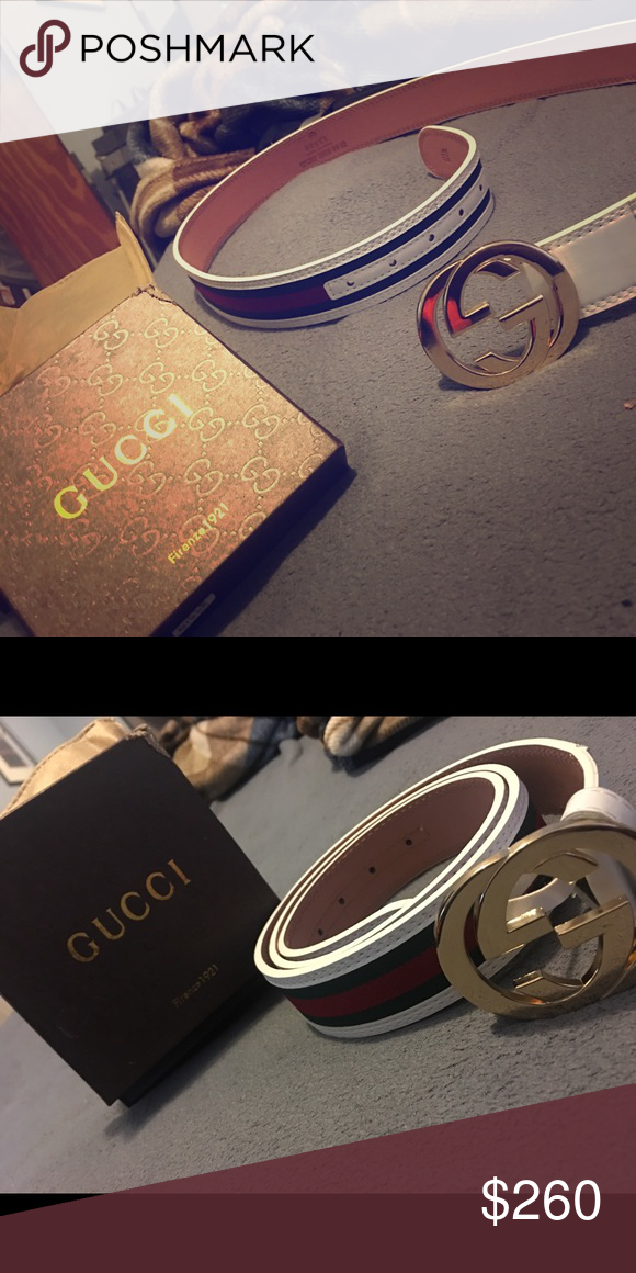 441386692 Gucci belt 100% authentic white Gucci belt! Selling clothes and accessories  that I do not wear anymore! Gucci Accessories Belts