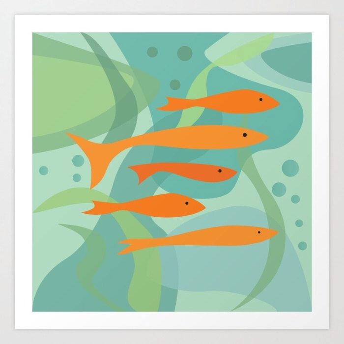 Orange Fish And Seaweed Art Print Animal Mid Century Modern Poster Wall Vintage Green Blue