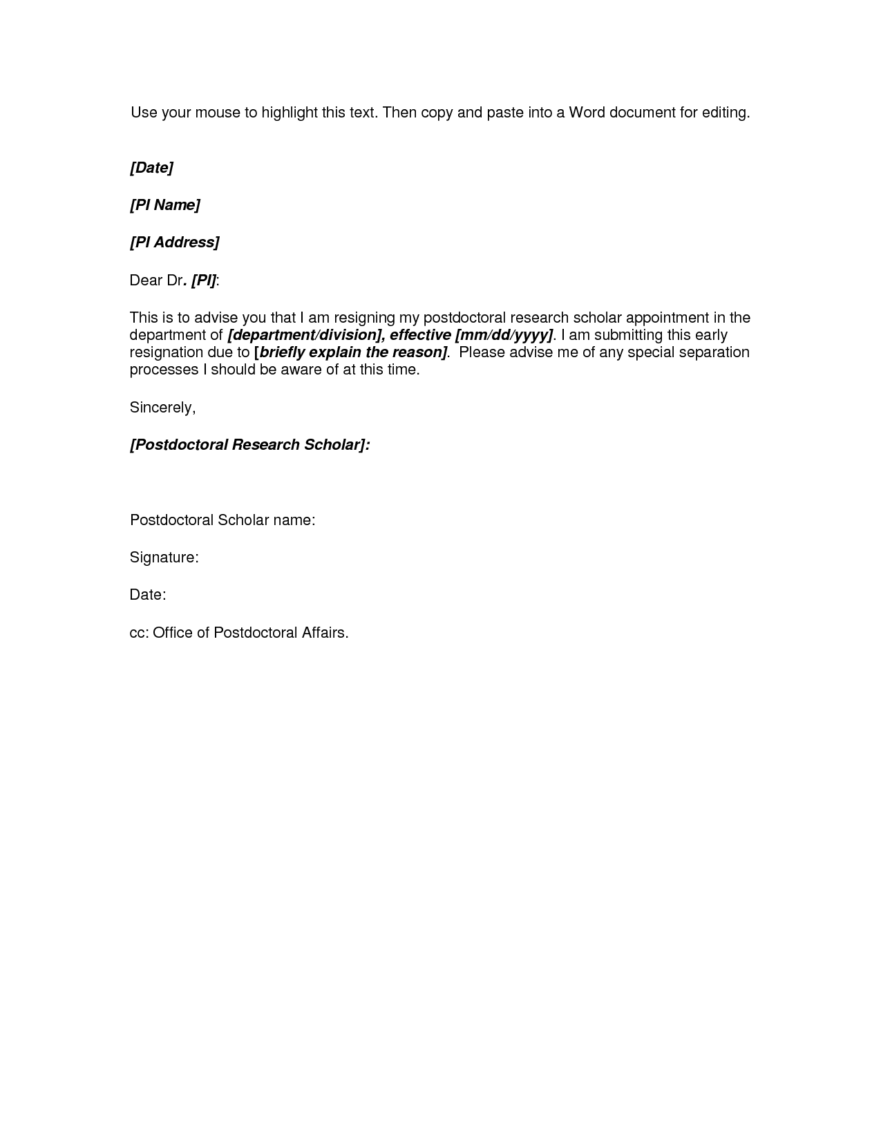 Microsoft Word Resignation Letter Template