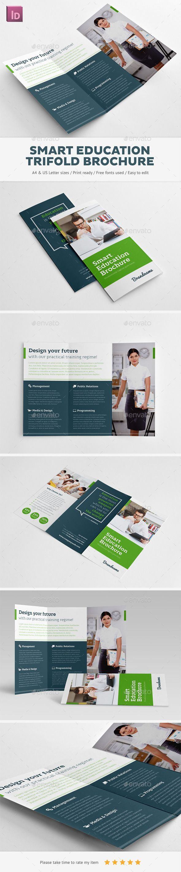 smart education trifold brochure brochures print templates tap