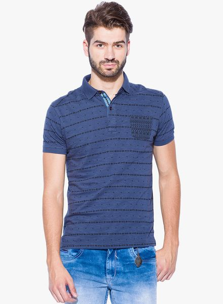 01d86454444f Buy Mufti Blue Striped Polo T-Shirt for Men Online India