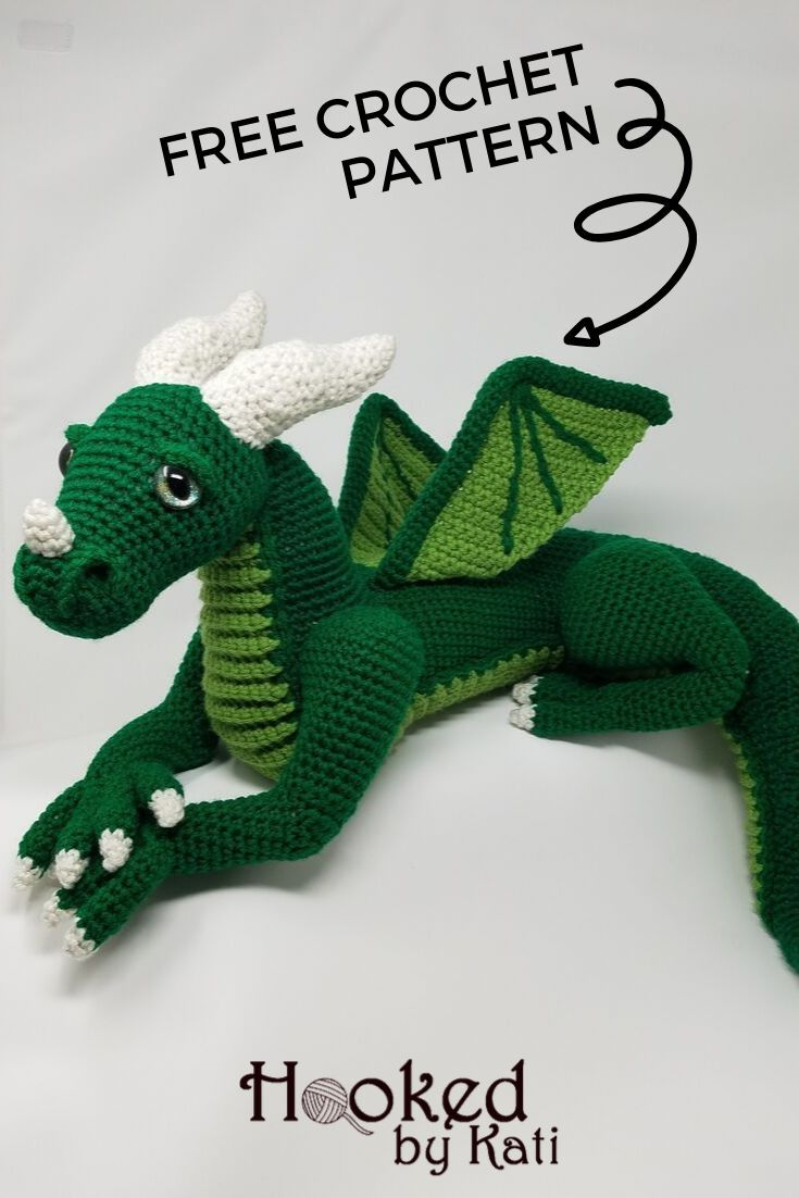 Vincent the Dragon | Free Crochet Pattern Amigurumi | Hooked by Kati