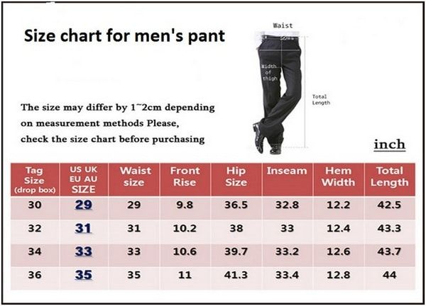 Size Chart For Men S Pant