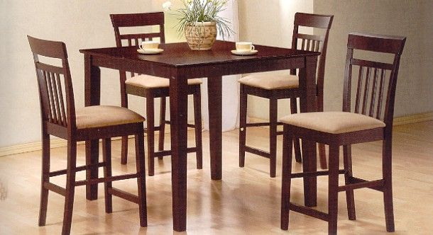 Square Cappuccino Tall Tables Counter Height Table Dining