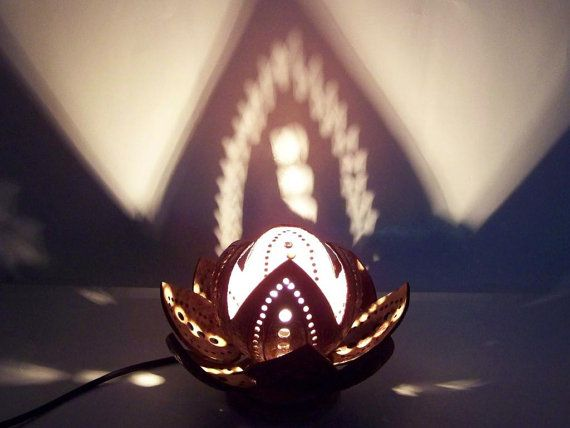 Coconut lamp Lotus Flower small handmade from by SiamroseOriginal, €16.90