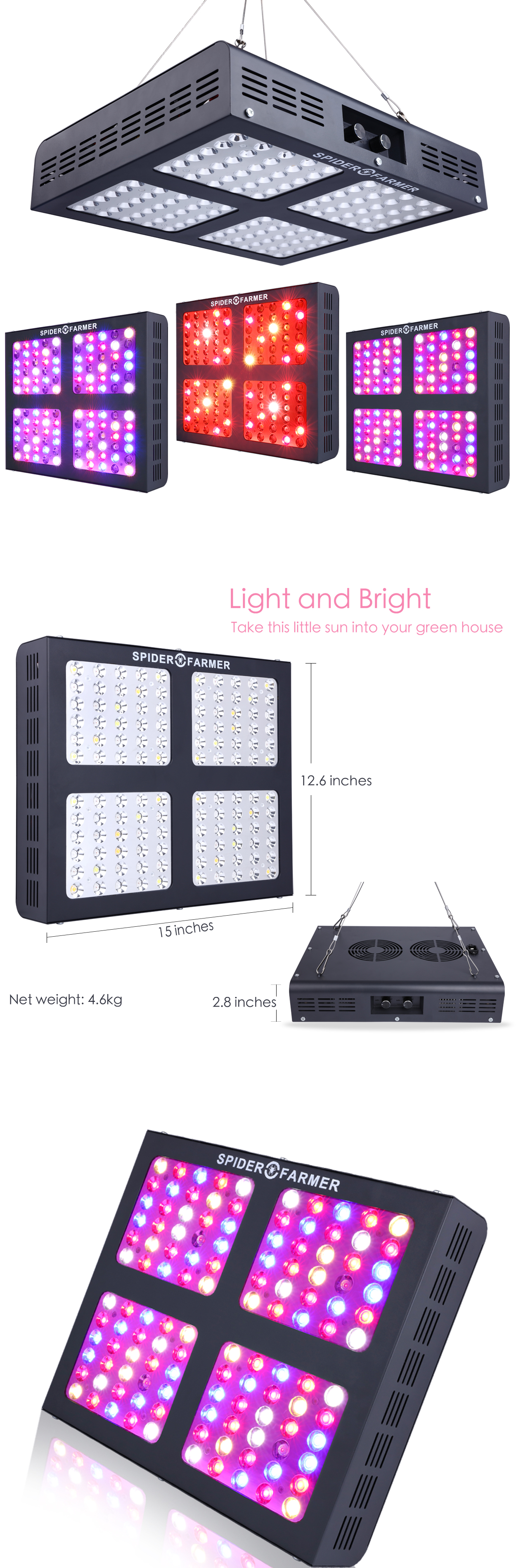 Spider Farmer Dimmable 600w Led Grow Light Full Spectrum Veg Bloom Dimmer Indoor Led Grow Lights Grow Lights Bloom