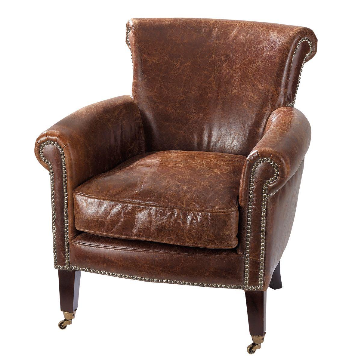 500 euros fauteuil en cuir marron effet vieilli cambridge