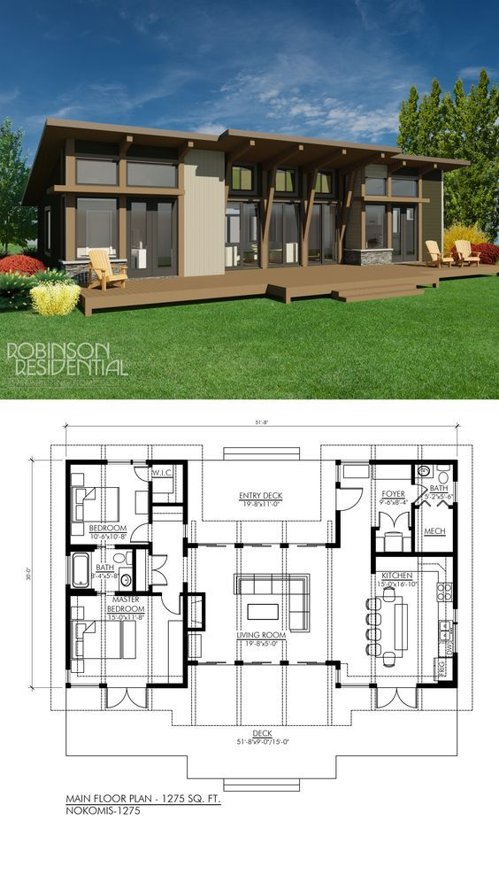 Contemporary Nokomis 1303 Robinson Plans Vacation House Plans Modern Style House Plans Contemporary House Plans