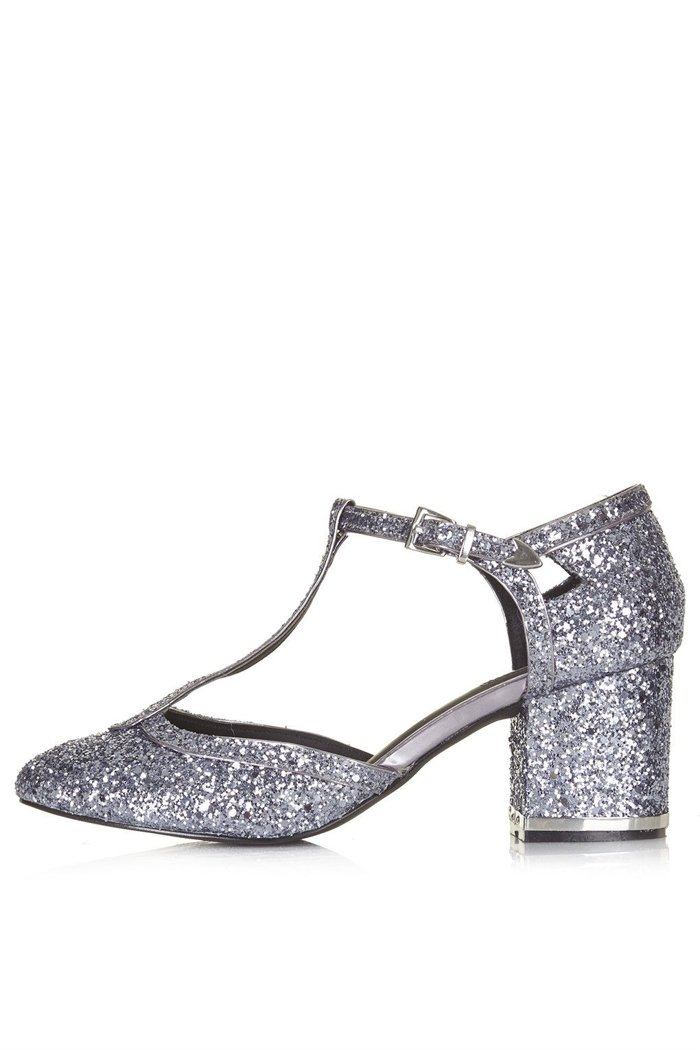 JOYFUL Glitter T-Bar Mid Heels - Heels - Shoes | Party shoes ...
