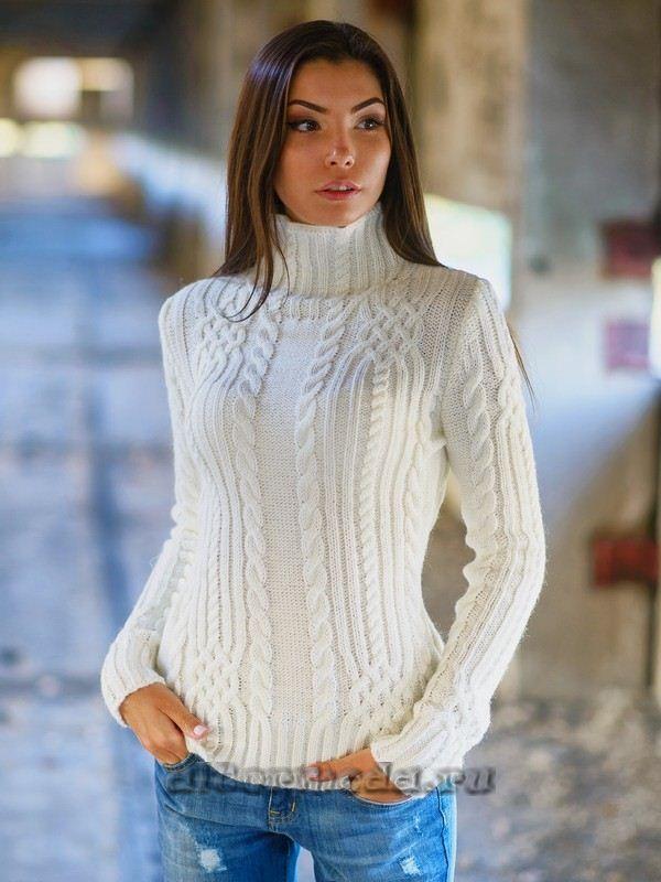 белый вязанный женский свитер с доставкой вязаные изделия спицы