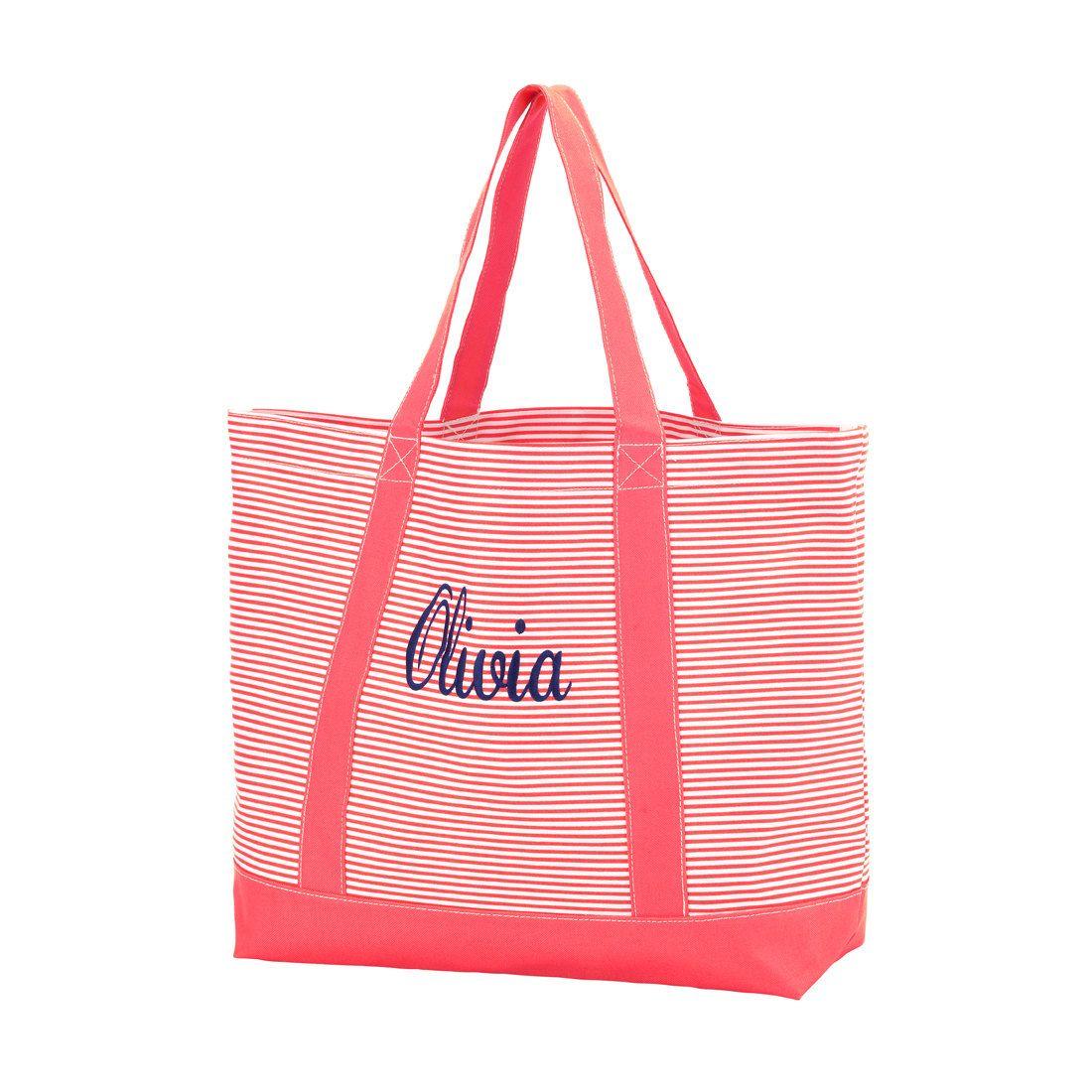 Monogram Coral Pinstripe Tote - Personalized Tote Bag - Beach Bag ...