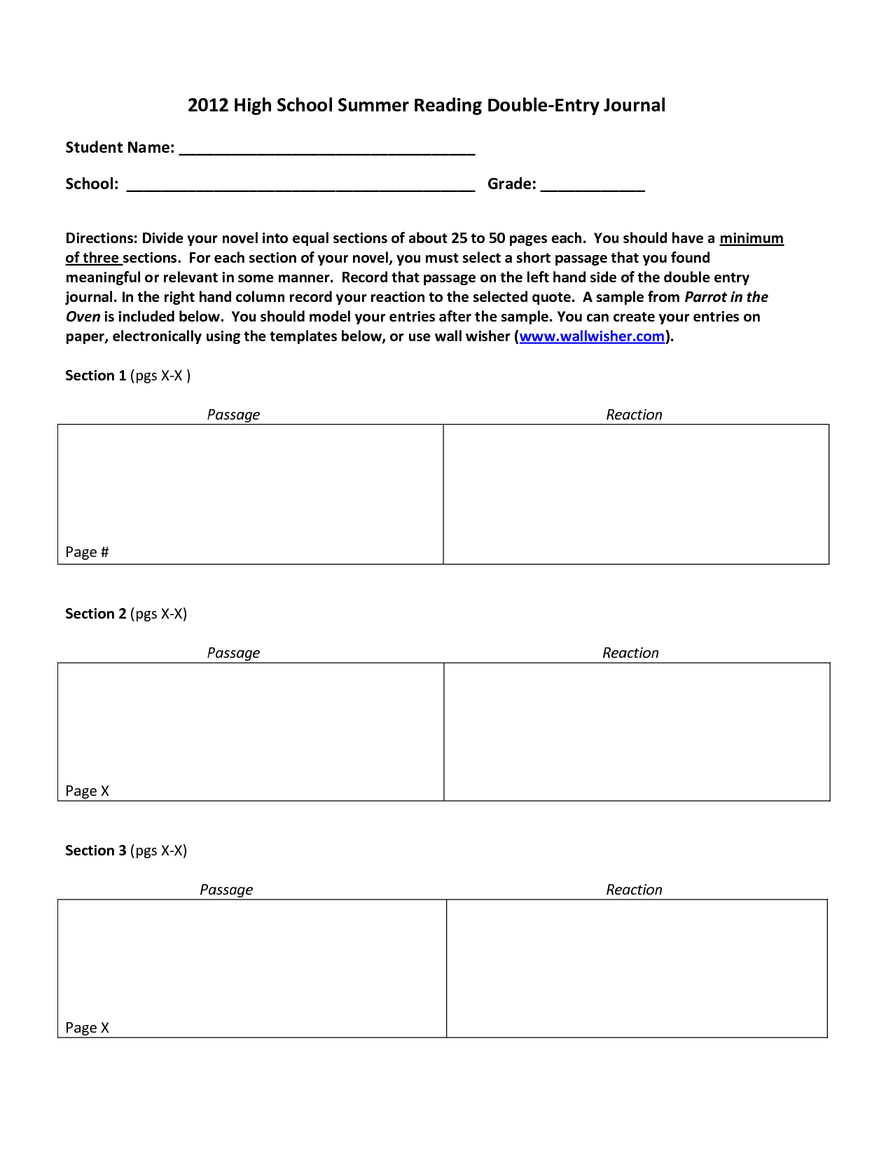 Reading Log Template High School