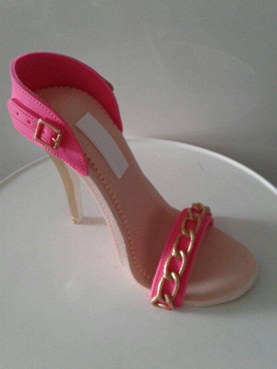 55953813074 Gumpaste fondant sugar high heel sandal shoe cake topper decoration ...