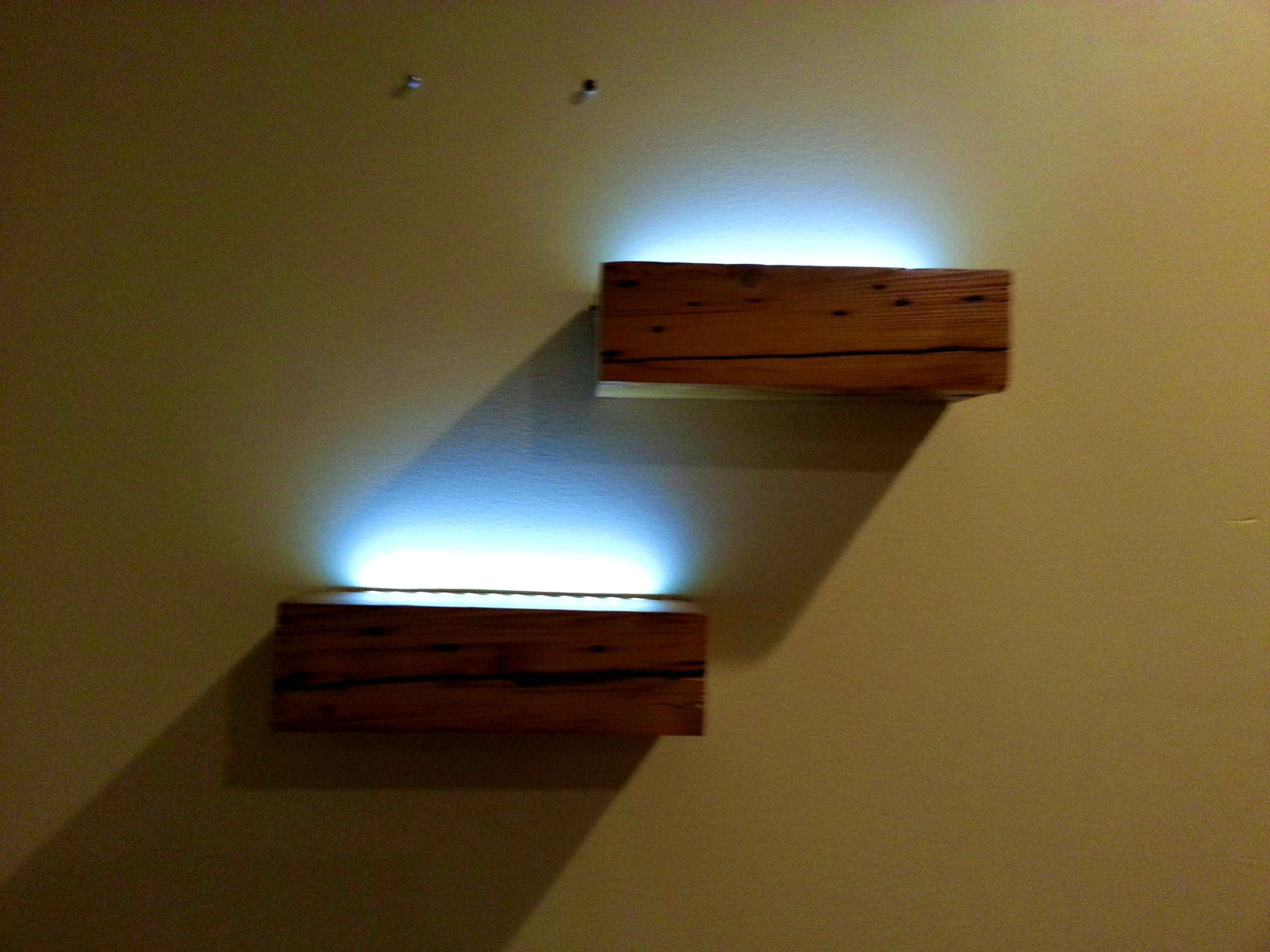 Bathroom Comely Floating Battery Powered Led Shelves From Reclaimed Knotty Pine Building Floating Shelves With Lights Floating Shelves Long Floating Shelves