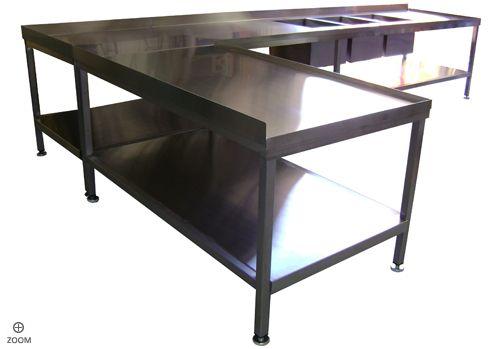 KITCHEN SINKS LShaped Stainless Steel Industrial Kitchen Table - Industrial kitchen table stainless steel