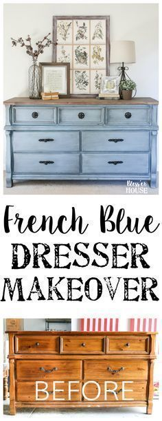 French Blue Dresser Makeover Diy Refurbish Paint Techniques