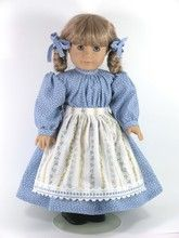 Kirsten Handmade 1854 Prairie Doll Dress, Apron Blue Stripe - Exclusively Linda Doll Clothes