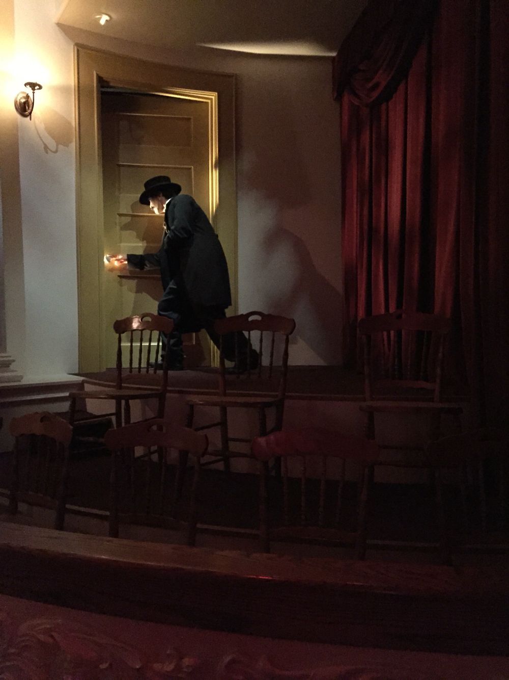 John Wilkes Booth sneaks into the Presidential Suite at Ford's Theatre