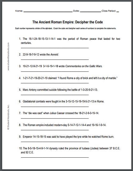 Ancient Roman Empire - Decipher-the-code puzzle worksheet is ...