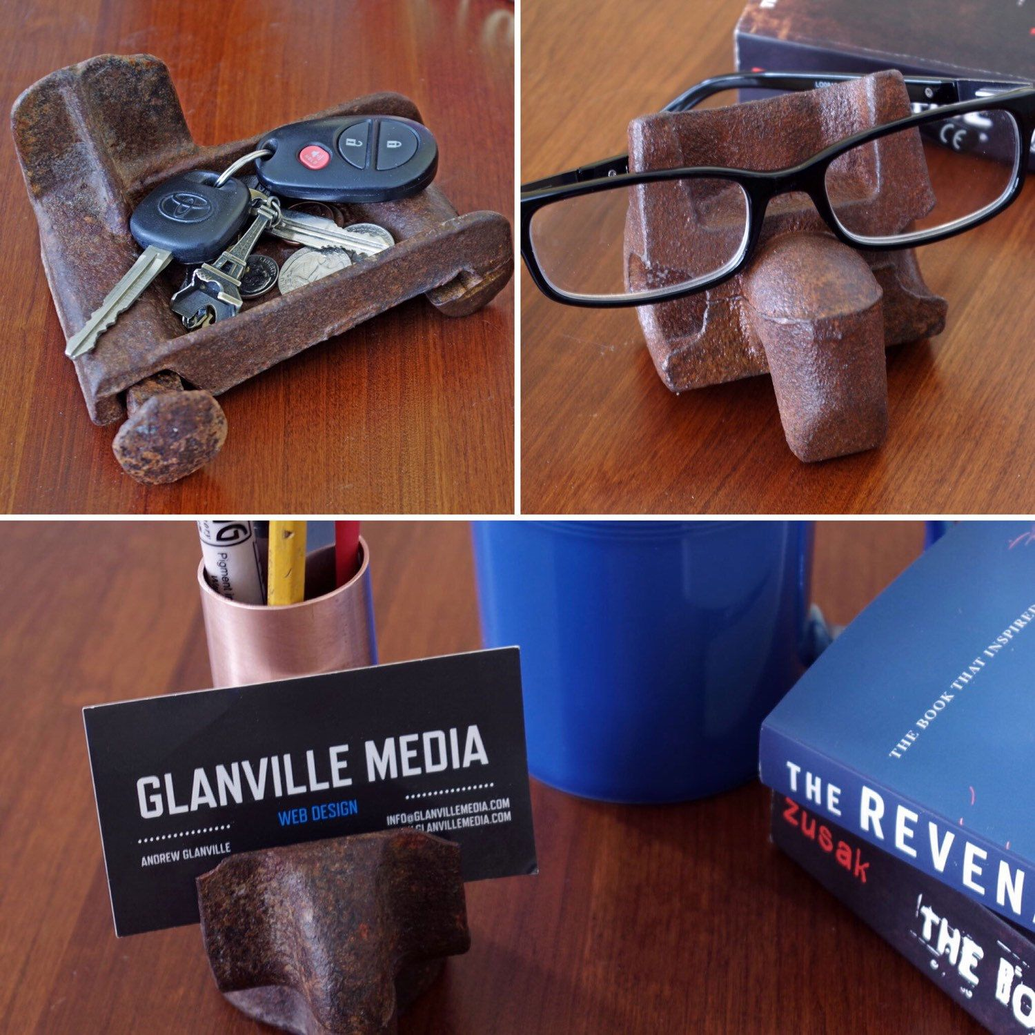 Unique fathers day gifts weve taken railroad track parts and weve taken railroad track parts and pieces and made the coolest business card holder eyeglass holder and key and change holder reheart Images