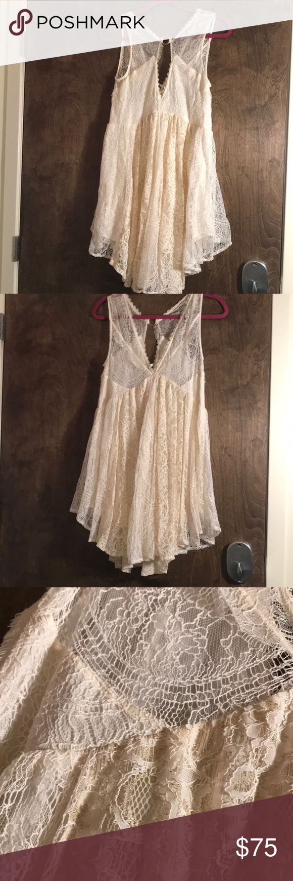 Free people cream and gold flowy dress nwt nwt my posh picks