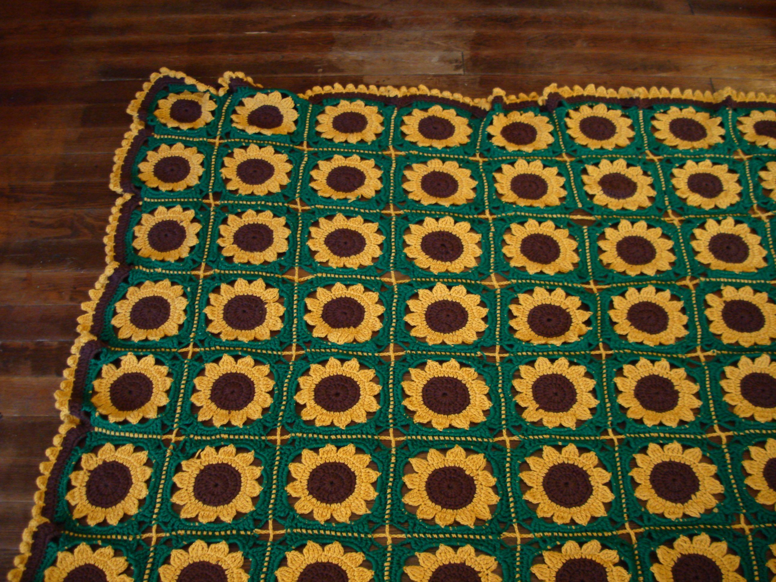 Kansas Sunflower Granny Square Crochet Afghan Blanket | Going, going ...