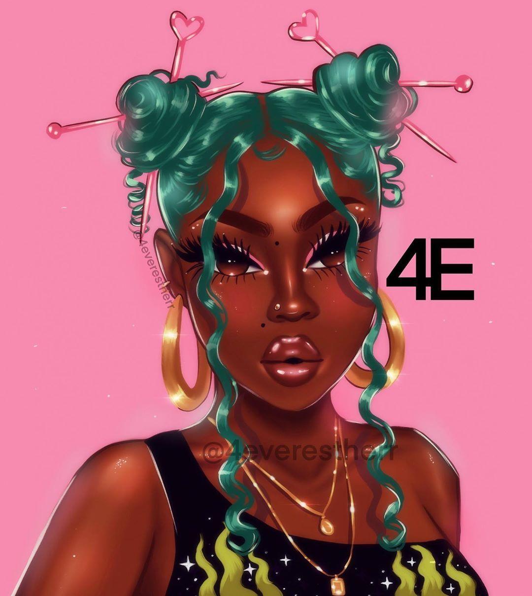 """Estherr La Main D'or 💖💸🇨🇩🇨🇦 on Instagram: """"🐊Green """"n"""" pink 💕 I LOVE HER HAIR 💕  #illustration #drawing #art #artist #digitalart #digitalpainting🎨 #blackart #blackartist #cartoon…"""""""