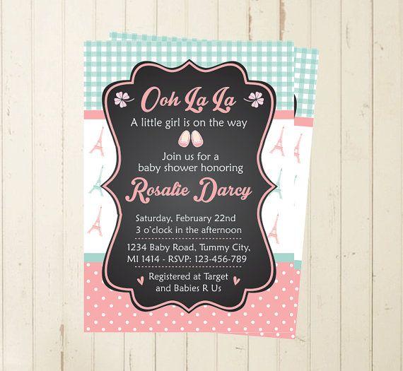 Paris inspired oh la la Baby Shower invitation baby shower invitation por RebeccaDesigns22, $11.99