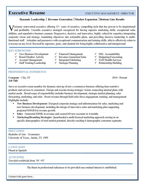 free executive resume templates downloads - North.fourthwall.co